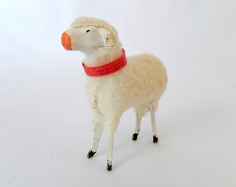 antique German stick leg sheep, collectible animal figurine, Christmas Easter decor, lamb, miniature