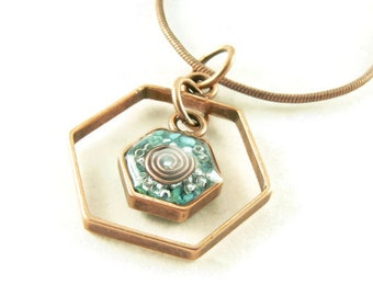 Orgone Energy Honeycomb Necklace in Antique Copper Finish with Turquoise Gemstone - Framed Hexagon - Orgone Energy Necklace