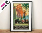 SCOTLAND TRAVEL POSTER: Vintage Forth Bridge Advert, Art Print Wall Hanging