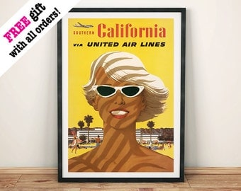 CALIFORNIA GIRL POSTER: Vintage Airline Travel Advert, Beach Art Print Wall Hanging