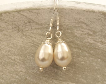 Ivory Pearl Drop Bridal Earrings Bridesmaid Jewellery Silver Wedding Earings Swarovski Cream Pear Shape Drops Etsy UK