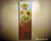 Sunflower Painting.Original Abstract Painting.Modern Textured Sunflower Painting.Palette Knife,Impasto.Home Decor.Ready to Ship by Nata S.