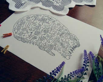 Hedgehog colouring page//Adult colouring Page//Childrens colouring Page//Hedgehog Art//Nature art//Wildlife art//Pen and ink drawing