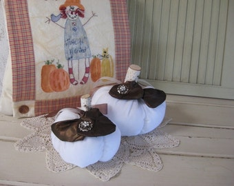 Pumpkins Set of 2 White Velvet Stuffed Small Large with Dark Chocolate Brown Jewel Embellishments Thanksgiving Table Centerpiece Fall Autumn