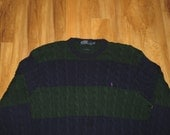 Reserve - Vintage 1990s Polo Ralph Lauren Hip Hop Color Block Cable Knit Oversized Crewneck Sweater