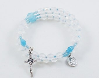 Pro-Life Rosary Bracelet, Baby Blue & White Full Five Decade Wrap Bracelet, Czech Glass, One Size Fits Most, Our Lady of Guadalupe Medal