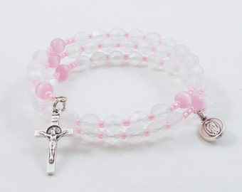 Pro-Life Rosary Bracelet, Baby Pink & White Full Five Decade Wrap Bracelet, Czech Glass, One Size Fits Most, Our Lady of Guadalupe Medal
