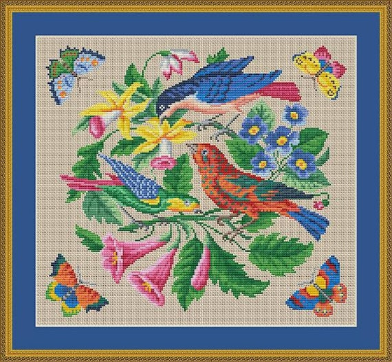 Antique Birds, Flowers and Butterflies Round Tapestry Motif Berlin Woolwork Counted Cross Stitch Pattern PDF