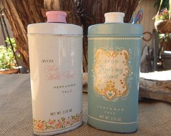 Avon Perfumed Talc Tin  ~  Avon To A Wild Rose Perfumed Talc Tin  ~  Avon Here's My Heart Perfumed Talc  ~  Vintage Avon Powder Tins