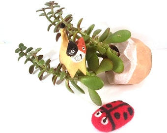 Red Ladybug Catnip Cat Toy - Needle Felted Wool