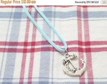 Silver Anchor Necklace, Antiqued Silver Ship Anchor and Aqua Faux Suede Nautical Necklace