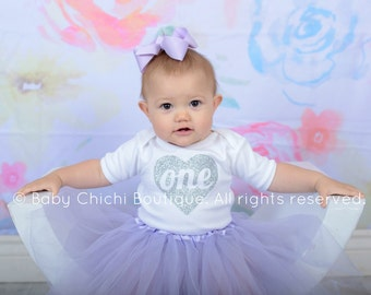 First birthday outfit girl Silver and Lavender birthday 1st birthday outfit girl Tutu birthday outfit