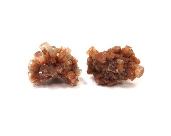 Aragonite Star Crystal Clusters 2 Raw Specimens 27 mm Natural Rough Stones for Wire Wrapping and Jewelry (Lot 9950) Natural Mineral