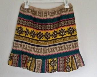Short sweater skirt, size 10,  Southwestern  geometric print, sexy hippie skirt, short, ruffle skirt, boho, up cycled, retro sweatshirt