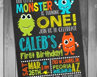 Monster Birthday Invitation Little Monster Boy Birthday Boy 1st Boy First Baby Boy Monster Invitation Printable Birthday Photo Birthday