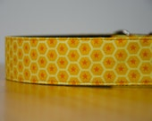 """Koto, yellow and orange hexagons with stars, large, 1.5"""" wide martingale (greyhound) collar, extra strong"""