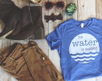 Women Water is Waiting Long and Lean T-shirt, Womens Clothing, screenprinted tee