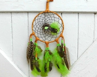 Dream Catcher, Lime Green, Honey Tan Leather, Agate Stone Donut, Chalk Turquoise Bear, Chocolate Brown Center, Pheasant Feathers