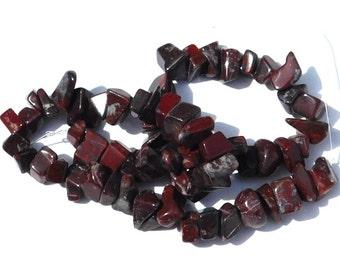 Natural Brecciated Jasper Stone Chip Beads, Dark Red, White Lines, Black, Beading Supplies, Full Strand, Crafting Beads