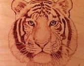 Tiger Wood Burning, Tiger Portrait, Tiger Pyrography, Wild Animal Art, Jungle Cat, African Safari, Fierce and Majestic Tiger