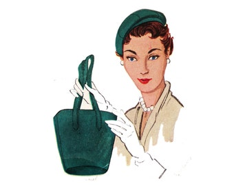 Hat Pattern, McCall's 1745, Vintage Fifties Pattern, Retro Hat Designs, Purse Pattern, Tote, Bag, Old Pattern