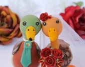 Love bird wedding cake topper Mallard duck with banner - more than 4 inches tall