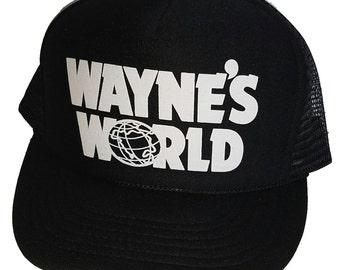 Wayne's World Mesh Trucker Hat Cap Halloween Black 80's Costume Snapback