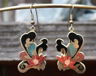 Vintage Earrings,  Cloisonne, Flowers, Black, Gold, Red, Green, Pink, 1980s, Retro, Floral, Dangle Drop