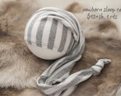 ready to ship, newborn photography prop, upcycled gray white striped hat with button, newborn baby boy prop, newborn sleep cap