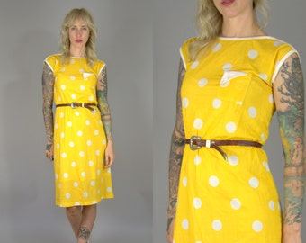 80s Polka Dot New Wave Yellow & White Cap Sleeve Single Pocket Prep Day Dress