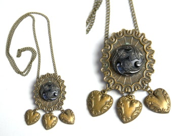 1940s Victorian Mourning Style Brass Hanging Hearts Drop Pendant Czech Glass Necklace