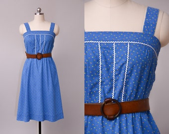 70s Prairie Dress Blue Micro Floral Empire Waist Cotton Hippie Festival Dress