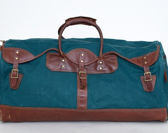 Vintage Luggage Duffle Bag Green Canvas /Brown Leather Battenkill Travel Bag