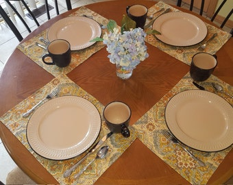 Set of 4 Placemats, Tapestry Look Placemats, Earth Tone Placemats