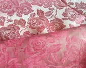 Vintage Pink Roses Brocade Fabric