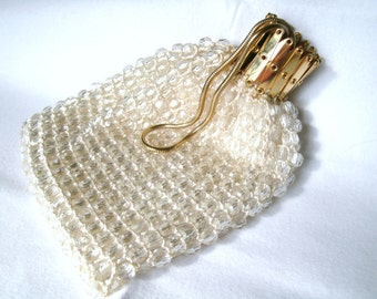 Vintage Clear Crystal Accordion Top Gold Purse Wristlet Handbag Pouch