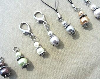 Pearl & Silver Add a Charm, Handmade Original Accessory, Purse Charm Phone Charm Stylus Charm Zipper Pull Bag Charm Cute Ladies Gift Idea