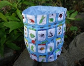 SALE Mini beast project Bag. Small Drawstring bag ideal for knitting or crochet projects