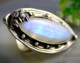 Moonstone Ring Adularia Stone Statement Ring Sterling Silver Jewelry