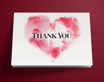 Printable Thank You Card, Heart Thank You Card, DIY Instant Download, Wedding Thank You Card, Birthday Thank You Card