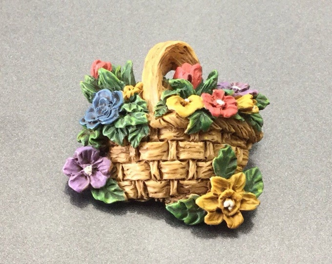 Colorful Vintage Handpained Plastic Basket Brooch, Nice Flower Brooch and pretty colors.