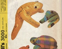 1970s Beanbag Animal Pattern, Frog and Turtle Beanbag Pattern, Autograph Beanbag Pattern, Easy Vintage Soft Toys Pattern to Sew