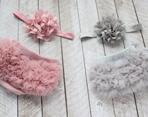 TWINS Baby Girl Ruffle Bloomer & Headband Sets in Mauve and Grey - Newborn Photo - Infant Bloomers - Diaper Cover - Baby Gift - 1st Birthday