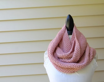 Pink Knit Cowl - Wrap Scarf - Knit Infinity Scarf, Neckwarmer, Textured Scarf, Circle Scarf