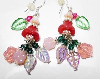Pink Silver Earrings FLOWER & LEAF chandelier Swarovski crystals .925 Sterling silver pink jewelry silver flower earrings lucite flowers