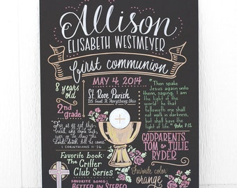 "Favorite Things Poster™ for a First Communion, 15""x20"" art board, custom ink drawing"