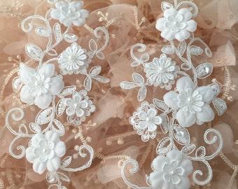 Bridal lace applique with venice rosette and blossoms, 3D lace applique for wedding garters, veils, gowns