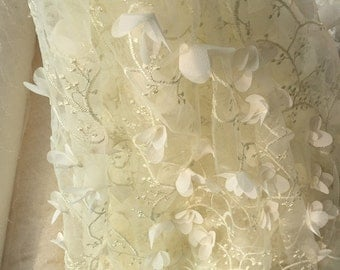 3D lace fabric in ivory for special design wedding gown, bridal dress, fabric by yard