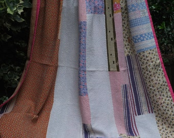 Kantha Quilt, Pink patchwork Kantha ,Sari throw, Sari Blanket, Kantha Blanket,  Pink Kantha Throw, Indian Quilt, Coverlet, Ralli Quilt