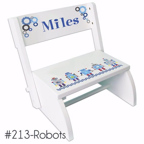Child S Personalized Robot Stool Boys Custom Step Stool